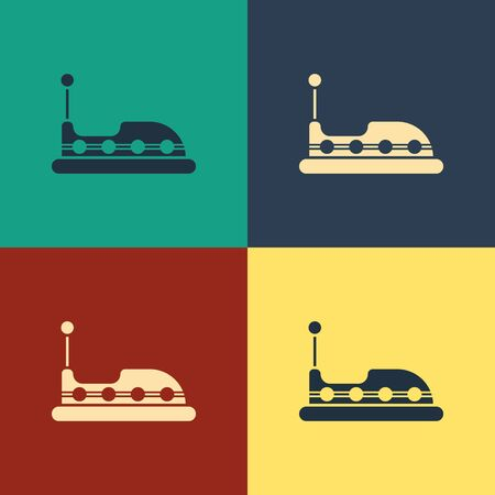 Color Bumper car icon isolated on color background. Amusement park. Childrens entertainment playground, recreation park. Vintage style drawing. Vector Illustration