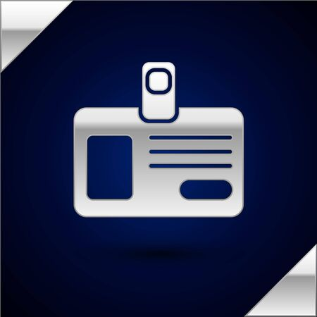 Silver Identification badge icon isolated on dark blue background. It can be used for presentation, identity of the company, advertising. Vector Illustration