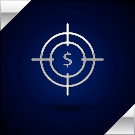 Silver Target with dollar symbol icon isolated on dark blue background. Investment target icon. Successful business concept. Cash or Money sign. Vector Illustration