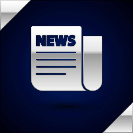 Silver News icon isolated on dark blue background. Newspaper sign. Mass media symbol. Vector Illustration