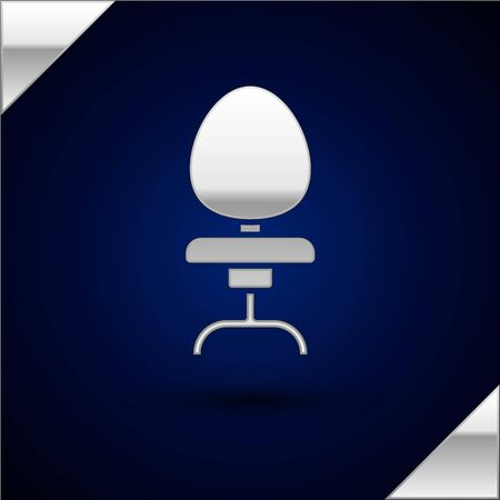 Silver Office chair icon isolated on dark blue background. Vector Illustration Illustration