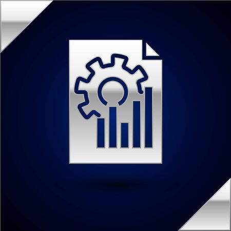 Silver Document with graph chart icon isolated on dark blue background. Report text file icon. Accounting sign. Audit, analysis, planning. Vector Illustration Ilustracja