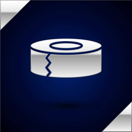 Silver Scotch icon isolated on dark blue background. Roll of adhesive tape for work and repair. Sticky packing tape. Office tool and stuff. Vector Illustration Stock Illustratie