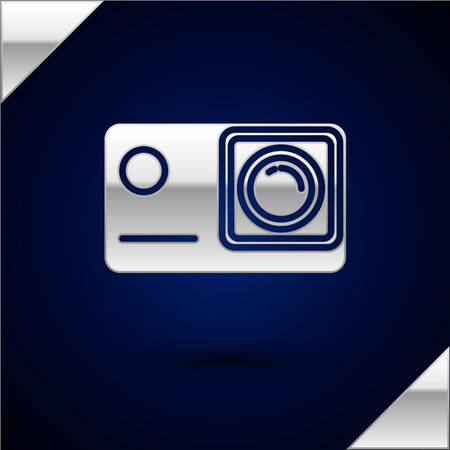 Silver Action extreme camera icon isolated on dark blue background. Video camera equipment for filming extreme sports. Vector Illustration