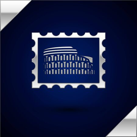 Silver Postal stamp and Coliseum icon isolated on dark blue background. Colosseum sign. Symbol of Ancient Rome, gladiator fights. Vector Illustration Ilustrace