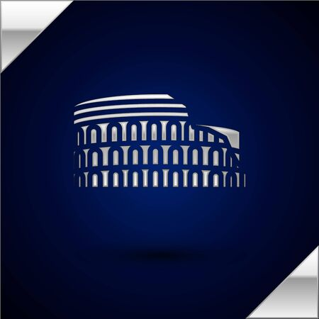 Silver Coliseum in Rome, Italy icon isolated on dark blue background. Colosseum sign. Symbol of Ancient Rome, gladiator fights. Vector Illustration Illustration