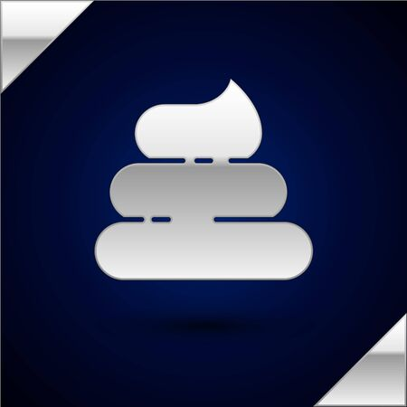 Silver Shit icon isolated on dark blue background. Vector Illustration