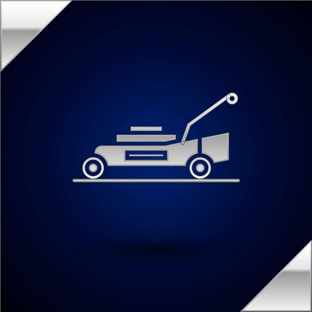Silver Lawn mower icon isolated on dark blue background. Lawn mower cutting grass. Vector Illustration Stock Illustratie
