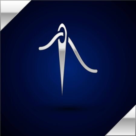 Silver Needle for sewing with thread icon isolated on dark blue background. Tailor symbol. Textile sew up craft sign. Embroidery tool. Vector Illustration