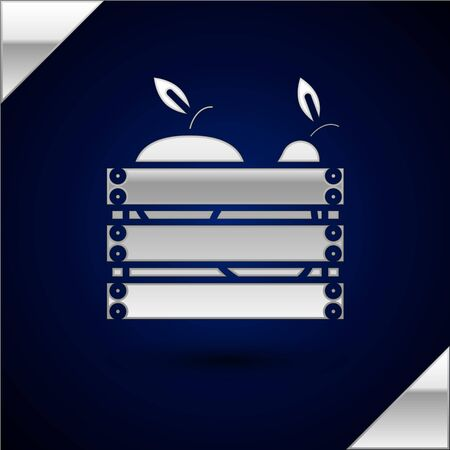 Silver Wooden box for fruits and vegetables icon isolated on dark blue background. Vector Illustration
