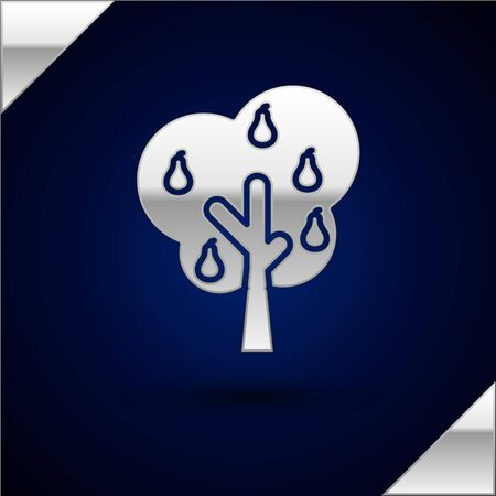 Silver Tree with pears icon isolated on dark blue background. Agricultural plant. Organic farm product. Gardening theme. Vector Illustration Ilustração
