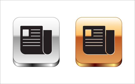 Black File document icon isolated on white background. Checklist icon. Business concept. Silver-gold square button. Vector Illustration Reklamní fotografie - 127962760