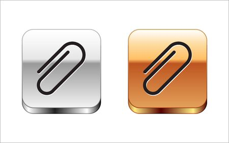 Black Paper clip icon isolated on white background. Silver-gold square button. Vector Illustration