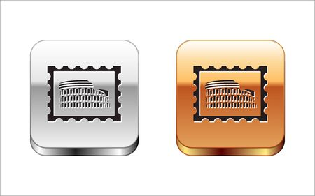 Black Postal stamp and Coliseum icon isolated on white background. Colosseum sign. Symbol of Ancient Rome, gladiator fights. Silver-gold square button. Vector Illustration