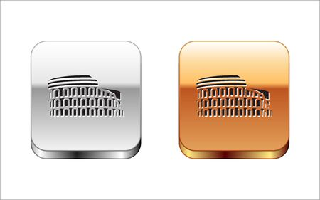 Black Coliseum in Rome, Italy icon isolated on white background. Colosseum sign. Symbol of Ancient Rome, gladiator fights. Silver-gold square button. Vector Illustration Illustration