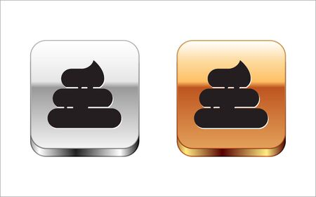 Black Shit icon isolated on white background. Silver-gold square button. Vector Illustration