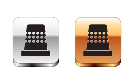 Black Thimble for sewing icon isolated on white background. Silver-gold square button. Vector Illustration