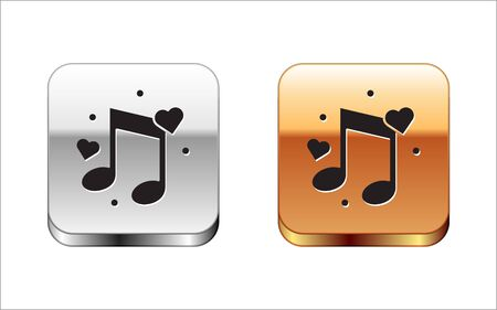 Black Music note, tone with hearts icon isolated on white background. Silver-gold square button. Vector Illustration
