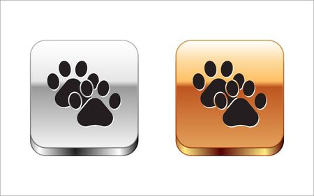 Black Paw print icon isolated on white background. Dog or cat paw print. Animal track. Silver-gold square button. Vector Illustration 向量圖像
