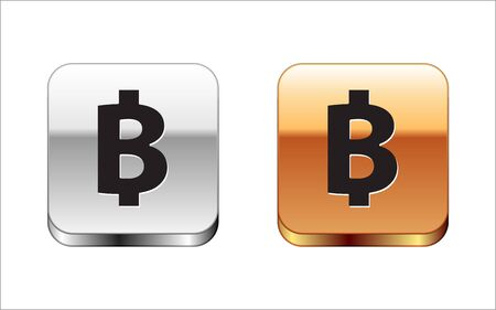 Black Cryptocurrency coin Bitcoin icon isolated on white background. Physical bit coin. Blockchain based secure crypto currency. Silver-gold square button. Vector Illustration
