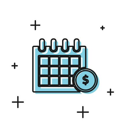 Black Financial calendar icon isolated on white background. Annual payment day, monthly budget planning, fixed period concept, loan duration. Vector Illustration