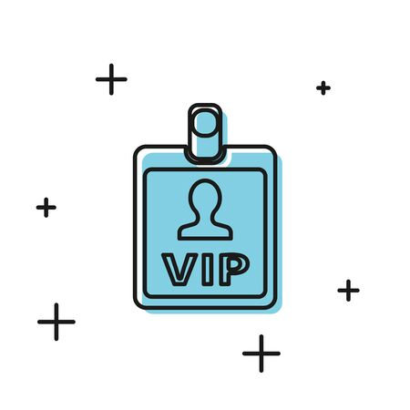 Black VIP badge icon isolated on white background. Vector Illustration Illustration