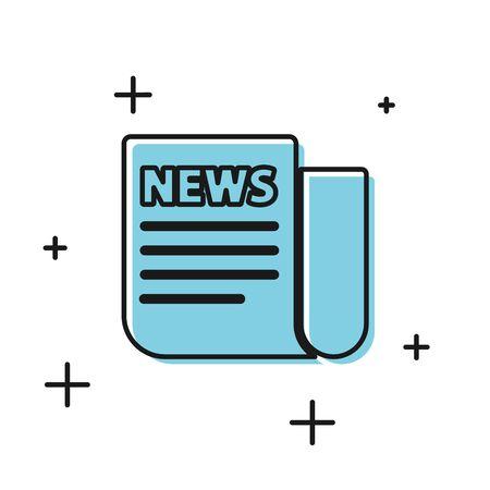 Black News icon isolated on white background. Newspaper sign. Mass media symbol. Vector Illustration