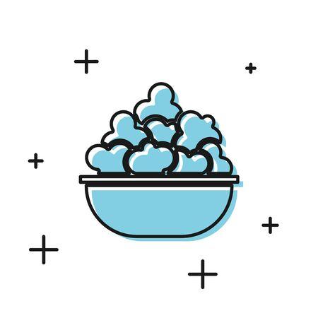 Black Popcorn in bowl icon isolated on white background. Popcorn bucket box. Vector Illustration