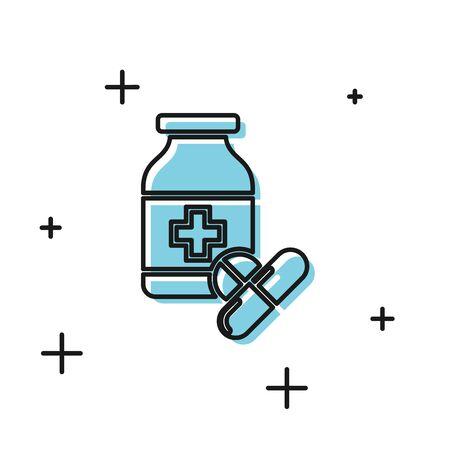 Black Medicine bottle and pills icon isolated on white background. Bottle pill sign. Pharmacy design. Vector Illustration