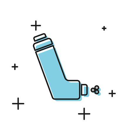 Icono de inhalador negro aislado sobre fondo blanco. Respirador para aliviar la tos, inhalación, paciente alérgico. Aerosol inhalador de asma de alergia médica. Ilustración vectorial