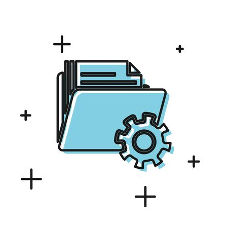 Black Folder settings with gears icon isolated on white background. Software update, transfer protocol, teamwork tool management. Vector Illustration