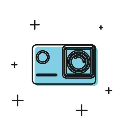 Black Action extreme camera icon isolated on white background. Video camera equipment for filming extreme sports. Vector Illustration Иллюстрация