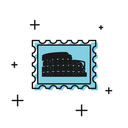 Black Postal stamp and Coliseum icon isolated on white background. Colosseum sign. Symbol of Ancient Rome, gladiator fights. Vector Illustration