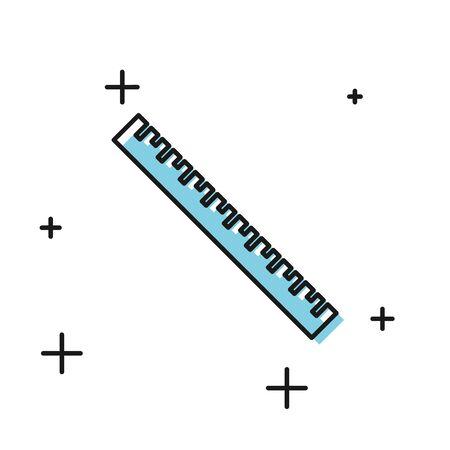 Black Ruler icon isolated on white background. Straightedge symbol. Vector Illustration