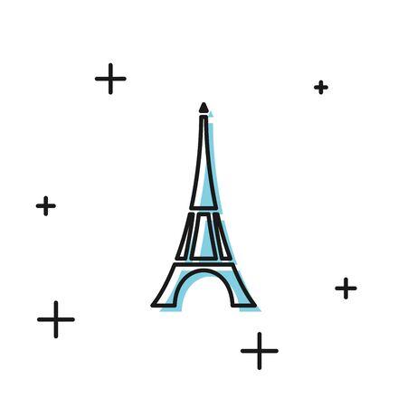 Black Eiffel tower icon isolated on white background. France Paris landmark symbol. Vector Illustration
