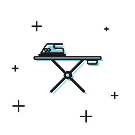 Schwarzes Bügeleisen und Bügelbrett-Symbol isoliert auf weißem Hintergrund. Bügeleisen. Vektorillustration Vektorgrafik