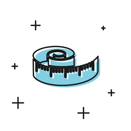 Black Tape measure icon isolated on white background. Measuring tape.