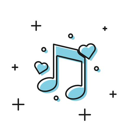 Black Music note, tone with hearts icon isolated on white background. Vector Illustration Illustration