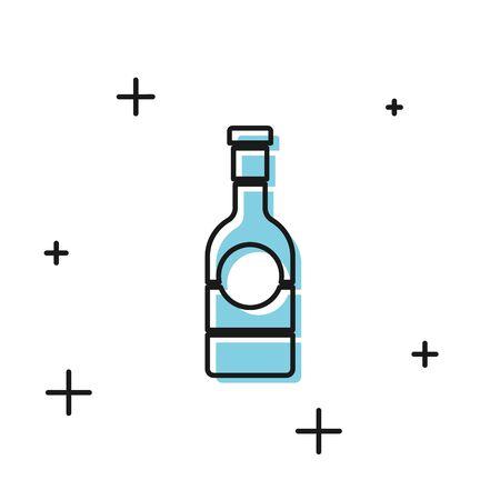 Black Champagne bottle icon isolated on white background. Vector Illustration