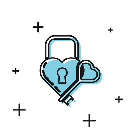 Black Castle in the shape of a heart and key icon isolated on white background. Locked Heart. Love symbol and keyhole sign. Vector Illustration