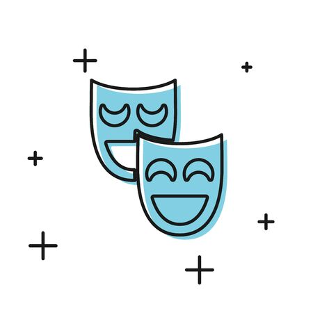 Black Comedy theatrical masks icon isolated on white background. Vector Illustration