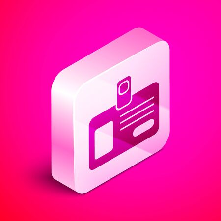 Isometric Identification badge icon isolated on pink background. It can be used for presentation, identity of the company, advertising. Silver square button. Vector Illustration