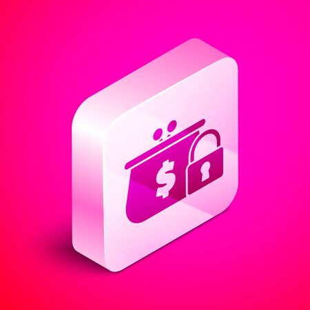 Isometric Closed wallet with lock icon isolated on pink background. Locked wallet. Security, safety, protection concept. Concept of a safe payment. Silver square button. Vector Illustration
