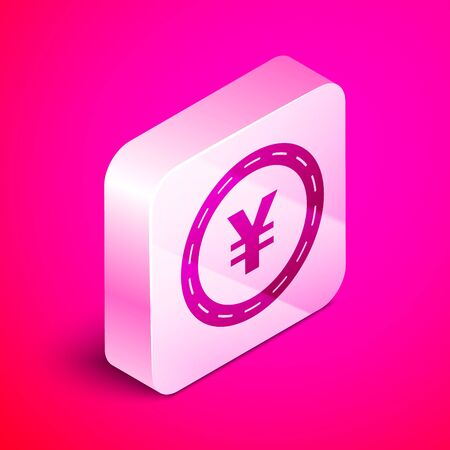 Isometric Coin money with Yen symbol icon isolated on pink background. Banking currency sign. Cash symbol. Silver square button. Vector Illustration