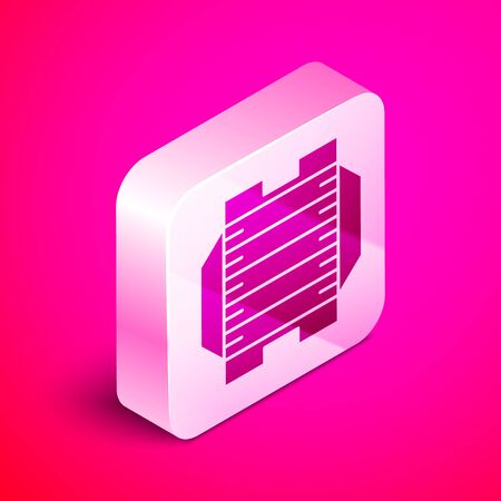 Isometric American football field icon isolated on pink background. Silver square button. Vector Illustration