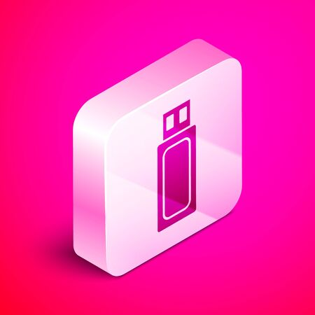 Isometric USB flash drive icon isolated on pink background. Silver square button. Vector Illustration