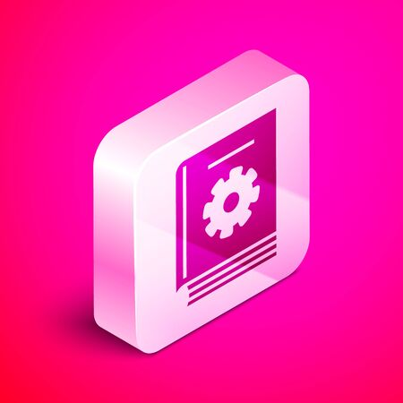 Isometric User manual icon isolated on pink background. User guide book. Instruction sign. Read before use. Silver square button. Vector Illustration