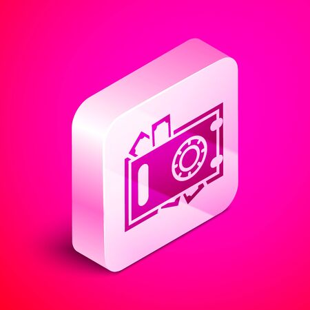 Isometric Safe and money icon isolated on pink background. The door safe a bank vault with a combination lock. Reliable Data Protection.  Silver square button. Vector Illustration Illustration