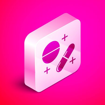 Isometric Medicine pill or tablet icon isolated on pink background. Capsule pill and drug sign. Pharmacy design. Silver square button. Vector Illustration
