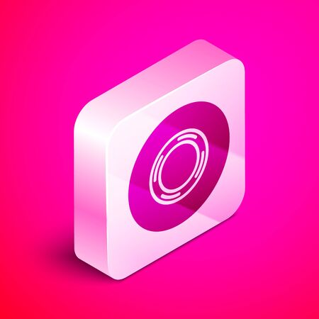 Isometric Scotch icon isolated on pink background. Roll of adhesive tape for work and repair. Sticky packing tape. Office tool and stuff. Silver square button. Vector Illustration